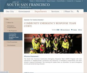 South San Francisco Community Emergency Response Team website