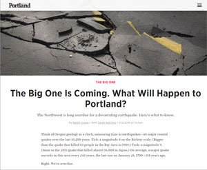 The Big One is Coming to Portland - Earthquake article